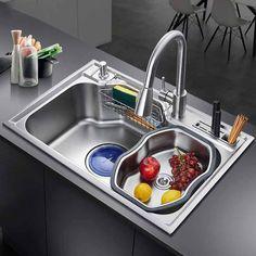 Daxon - Black Nano Stainless Steel Double Kitchen Sink with Soap Dispenser Tuscan Decorating, French Country Decorating, Double Kitchen Sink, Mini Kitchen, Kitchen Sinks, Kitchen Cabinets, Kitchen Design, Kitchen Decor, Kitchen Layout