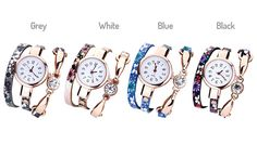 Emmie Wrap Watches Combine style and punctuality in an Emmie Wrap Watch      Embellished with clear crystal decorations      Straps feature feminine floral patterns      Round dials are metal-coated and scratch-resistant      High-quality artificial leather straps      Available in black, blue, grey and white      Easy-read dial with numerals      Read 'Full Details' for dimensions      Save...