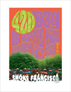 420 Day on Hippie Hill Sf Giants Logo, Golden Gate Park, Tree Logos, Beautiful Posters, Rock Posters, Background Patterns, Psychedelic, Giclee Print, Fine Art Prints