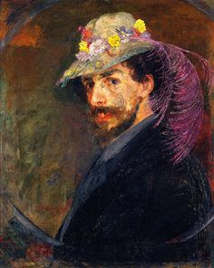 James Ensor ~ Self-Portrait with Flowered Hat, c.1883-88.  Art Experience NYC  www.artexperiencenyc.com/social_login/?utm_source=pinterest_medium=pins_content=pinterest_pins_campaign=pinterest_initial
