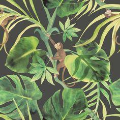 Monkey Business Ebony wallpaper by Clarke & Clarke