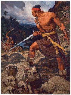 Ammon Defends The Flocks Of King Lamoni By Arnold Friberg GAB Primary Manual Alma