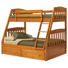 Double-deck bed with shelves.