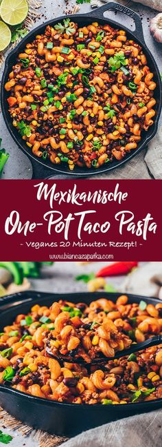 This one-pot Mexican enchilada pasta recipe is a tasty vegan protein-packed meal that is easy to make gluten-free with simple pantry ingredients! Recipes With Macaroni Noodles, Mexican Pasta Recipes, Healthy Pasta Recipes, Healthy Pastas, Veggie Recipes, Vegetarian Recipes, Macaroni Pasta, Shrimp Pasta, Chicken Pasta