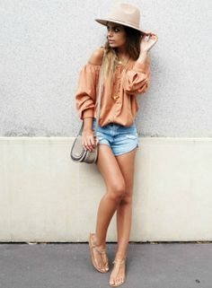 Off the shoulder tops + absolutely in this year + Laetitia + fantastic orange piece + denim cut offs + sandals + holiday style + perfect for any winter break!   Blouse : NA-KD, Shorts: Zara, Hat: ASOS, Bag: Michael Kors.