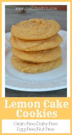Grain Free Lemon Cake Cookies. These cookies are dairy free, grain free, egg free AND nut free! They taste just like fresh baked lemon cake. They are so good that we make them almost every week by request of my kids! They are healthy and full of protein, so why not make them every week! realfoodrn.com #grainfreecookie #paleocookie