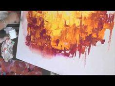 Como pintar con Acrilicos Cuadro Abstracto - Paso a Paso - Gabriela Mensaque - YouTube