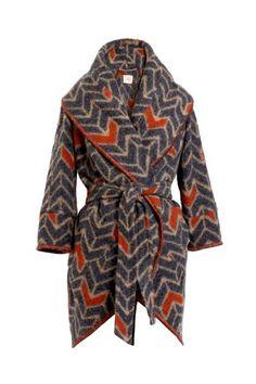 matthew williamson blanket cocoon chevron coat