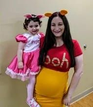 Load image into Gallery viewer, READY TO SHIP Honey Bear Maternity Women's Costume Cute Costumes, Costumes For Women, Satin Skirt, Satin Dresses, Baby Halloween Outfits, Halloween Ideas, Mustard Yellow Dresses, Garment District, Under Dress