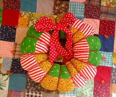 Patchwork 70s Wreath by lishyloo on Etsy, $16.00