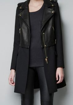 Black Long Sleeve Contrast PU Leather Zipper Trench Coat