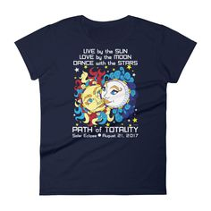 Women's Solar Eclipse Short Sleeve T-Shirt - Han & Leia - Live Love Dance Path of Totality August 21, 2017