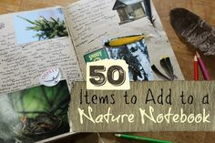 After leafing through the lovely pages of The Country Diary of an Edwardian Lady several years ago, my children and I were inspired to begin nature journaling. The beautiful water color renderings invited us to venture out...to explore...to wander through the woods. But, once we got there, we were a little overwhelmed. What were we suppose to see? What were we suppose to draw? There was so much nature. Here's a list of 50 items to look for in nature and to document in a notebook.