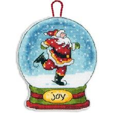 Joy Snow Globe Ornament in Counted Cross Stitch - Herrschners