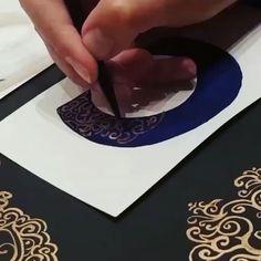 Painting 'C' with liquid gold leaf. #calligraphy #goldleafpaint #golddetail #navyandgold #blueandgold #Illuminatedletter #art #letters #paintingart #painting #brush