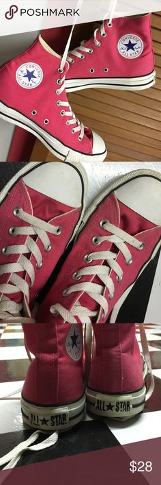 Hot Pink Hi Top Chuck Taylor Converse Still in awesome condition. Size 9 in women's and 7 in men's. Converse Shoes Sneakers