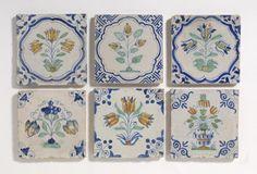 Flower tiles - Single decorated - Showcase antique tiles - Catalogue - Dutch Delft Tiles