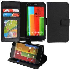 Abacus24-7 [Pocket Book Series] Motorola Moto G (4G LTE) Wallet Case with Flip Cover & Stand - Black: Amazon.co.uk: Electronics