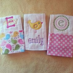 Personalized baby girl burp cloths - birds on Etsy, $30.00