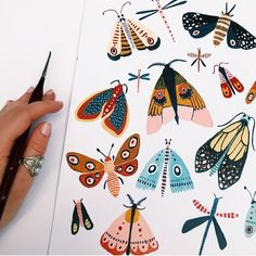 Woodland moths, which is your fave? Woodland moths, which is your fave? Woodland moths, which is your fave? Woodland moths, which is your fave? Art Inspo, Kunst Inspo, Painting Inspiration, Art Journal Inspiration, Trendy Mood, Inspiration Artistique, Painting & Drawing, Gouache Painting, Doodle Art Drawing