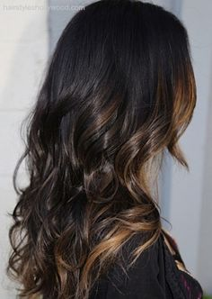 Caramel ombre highlights with dark brown hair