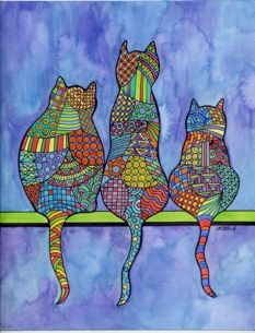 3 cats - Whimsical Art
