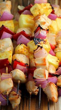 Skewered Pineapple Chicken Recipe with Spicy Orange Marinade