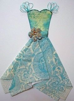 dress template for card making | paper top; napkin skirt - great for making cards