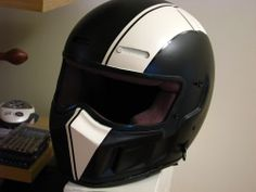 """bandit helmet custom paint stripe"" if I could get a motorcycle and ride it legally without needing a license for cars, I would want this helmet with it lol Custom Motorcycle Helmets, Custom Helmets, Motorcycle Gear, Motorcycle Accessories, Custom Bikes, Women Motorcycle, Vmax Cafe Racer, Gs 500 Cafe Racer, Cafe Racer Helmet"