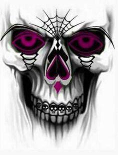 Neon Pink Spider Web Skull