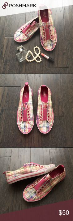 """COACH Slip On Sneakers Pink, green, blue, & white plaid slip on sneakers. Great to match with casual outfits. Only used once and """"like new"""" condition. The sole doesn't even show any wear. I would like for it to go to a home where it'll get a lot of use rather than just sitting in the closet. Coach Shoes Sneakers"""