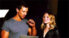 """ Jason Dohring and Kristen Bell, behind the scenes of the EW photoshoot (x) """