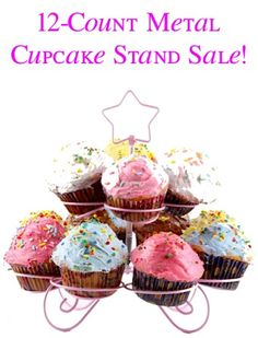 12-Count Metal Cupcake Stand Sale: $5.95!!  {such a cute way to display cupcakes at showers and parties!} #thefrugalgirls