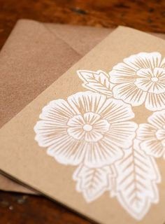 Blockprinted Card, Three White Flowers - Set of 6