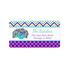 Peacock Green and Purple Chevrons Label - elegant gifts gift ideas custom presents