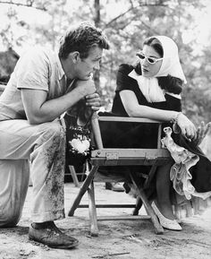 Pier Angeli visits James Dean on the set of East of Eden, 1954.
