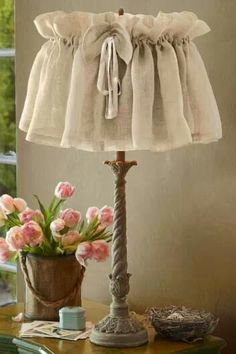 Burlap lampshade. My entryway Vanity needs this! A Lamp!!