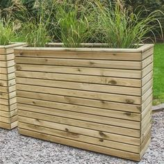 Forest Garden Linear Tall Planter: x x - wooden trough style planter featuring a contemporary design to provide the perfect container for garden shrubs Tall Wooden Planters, Tall Planter Boxes, Tall Outdoor Planters, Trough Planters, Large Planters, Diy Planters, Wooden Trough, Wood Garden Edging, Wooden Garden Swing