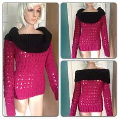 Womens hand crocheted pink magentablack ribbed by CarraigDesigns