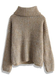Cable Knit Roll Neck Sweater in Light Brown - Retro, Indie and Unique Fashion