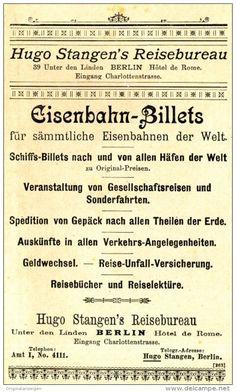 Original-Werbung/ Anzeige 1897 - EISENBAHN-BILLETTS / HUGO STANGEN'S REISEBUREAU…