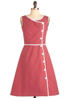 Plaid It All Up Dress - Mid-length, Red, White, Plaid, Buttons, Trim, Casual, Vintage Inspired, 60s, A-line, Sleeveless, Summer