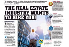 The Real Estate Industry wants to hire you - 15 million jobs in the next five years! Economic Survey 2017-18 #RealEstate #Builders #Building #Construction #Housing #PropertyDevelopers #Property #PropertyManagement #propertyforsale