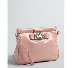 Miu Miu pink patent leather jeweled convertible baguette