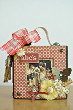 This amazing ABC Primer bag is by @Maiko D Miwa! She made it for her daughter using a 5X5 Graphic 45 altered art box. What a clever idea! And she used beautiful May Arts Ribbon to add that extra charm. So precious! #graphic45 #mayarts