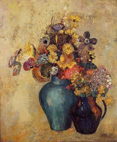 Flowers Artist: Odilon Redon Completion Date: Style: Realism, Symbolism Genre: flower painting Technique: oil Material: canvas Galler. Flower Vases, Flower Art, Potted Flowers, Art Flowers, Flowers In Vase Painting, Flower Paintings, Odilon Redon, Post Impressionism, Painting Still Life