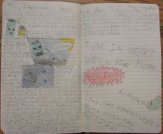 """7th grader Henry has an on-going adventure of """"Super Stick"""" in his notebook.  I'm charmed by how similar his notebook-keeping techniques are similar to Max's in this book by Marissa Moss: http://www.pinterest.com/pin/450852612668432875/  Check out a page from Henry's notebook that followed this one: http://www.pinterest.com/pin/450852612668670506/"""