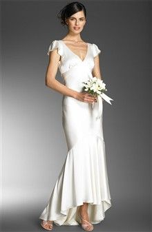 ABS by Allen Schwartz Cap Sleeve Charmeuse Gown - Wedding Dresses - Nordstrom.com Fluid, bias-cut gown with shirring nips in through the bodice and hips, then flows to a high-low flutter hem.