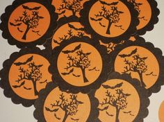 halloween orange creepy tree with bats scallop tags stickers envelope seals invitation embellishment - Restoration Hardware Halloween