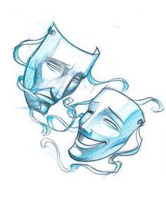 Theatre Masks sketch @keiranwilson MATCHING BEST FRIEND TATTOOS?!